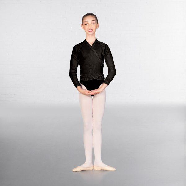 brighton ballet school 1st Position long sleeve cross over cardigan black