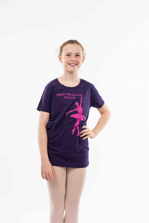 brighton ballet school t-shirt purple teen and adult sized