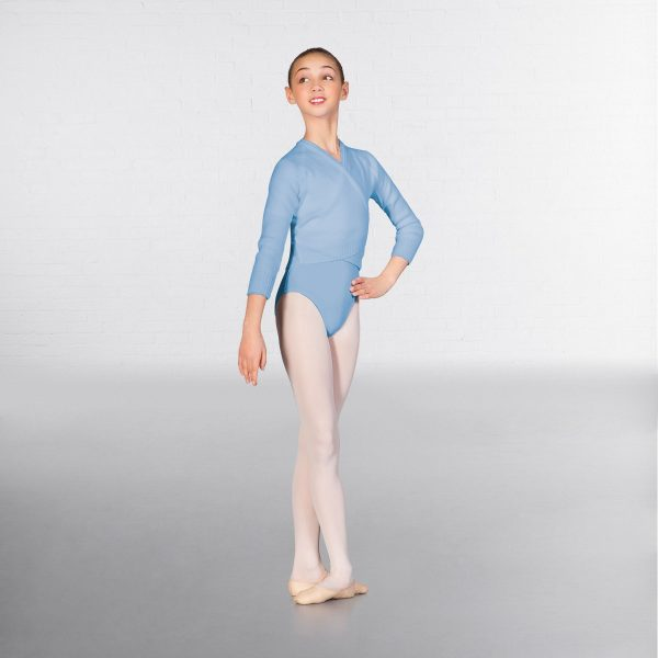 brighton ballet school 1st Position long sleeve cross over cardigan pale blue