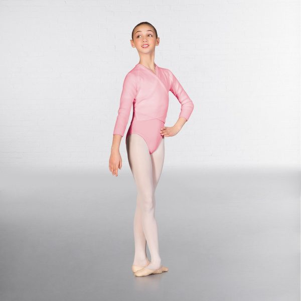 brighton ballet school 1st Position long sleeve cross over cardigan pink