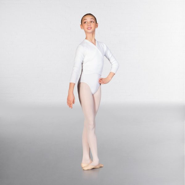 brighton ballet school 1st Position long sleeve cross over cardigan white