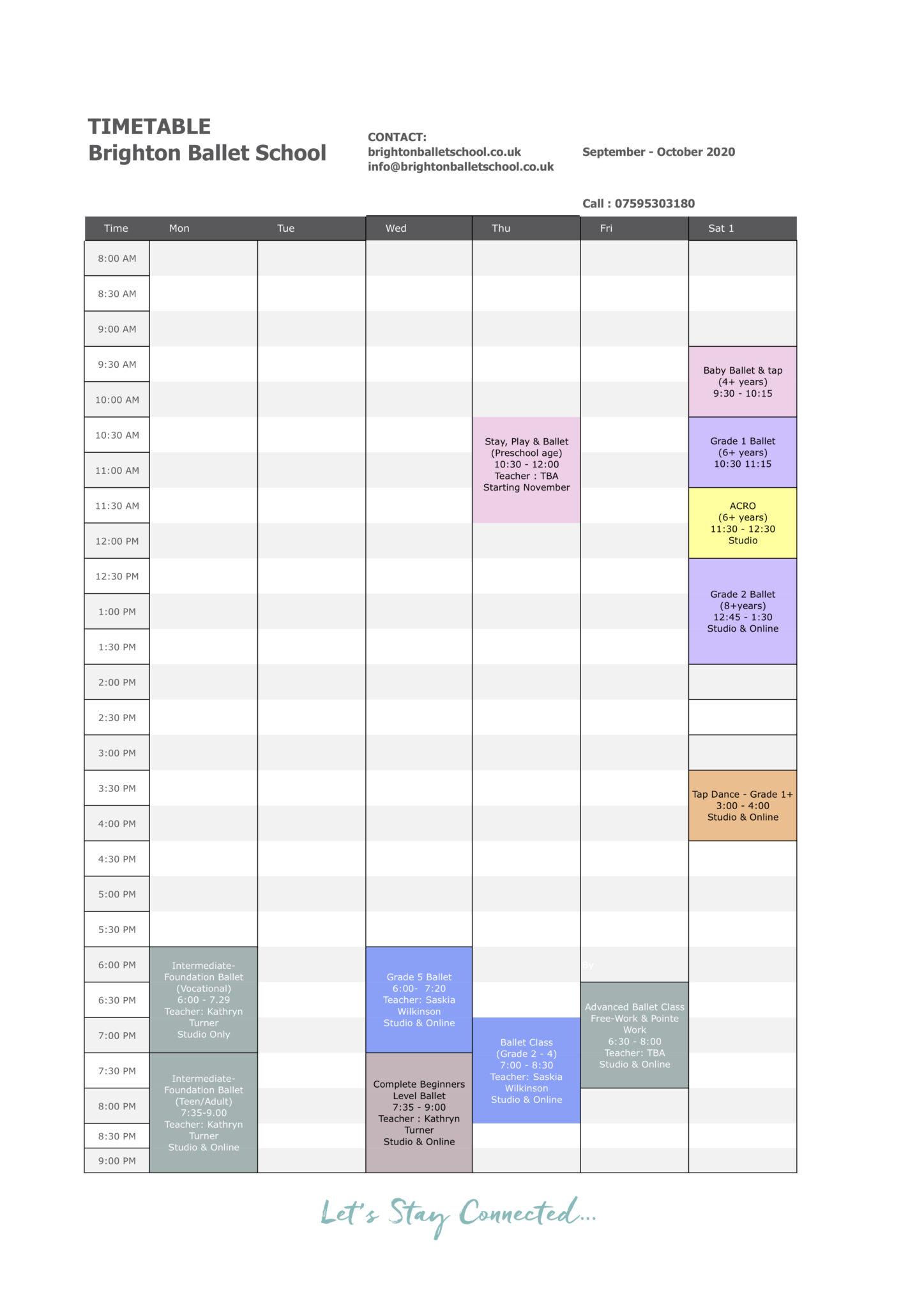 brighton ballet school - timetable September Term