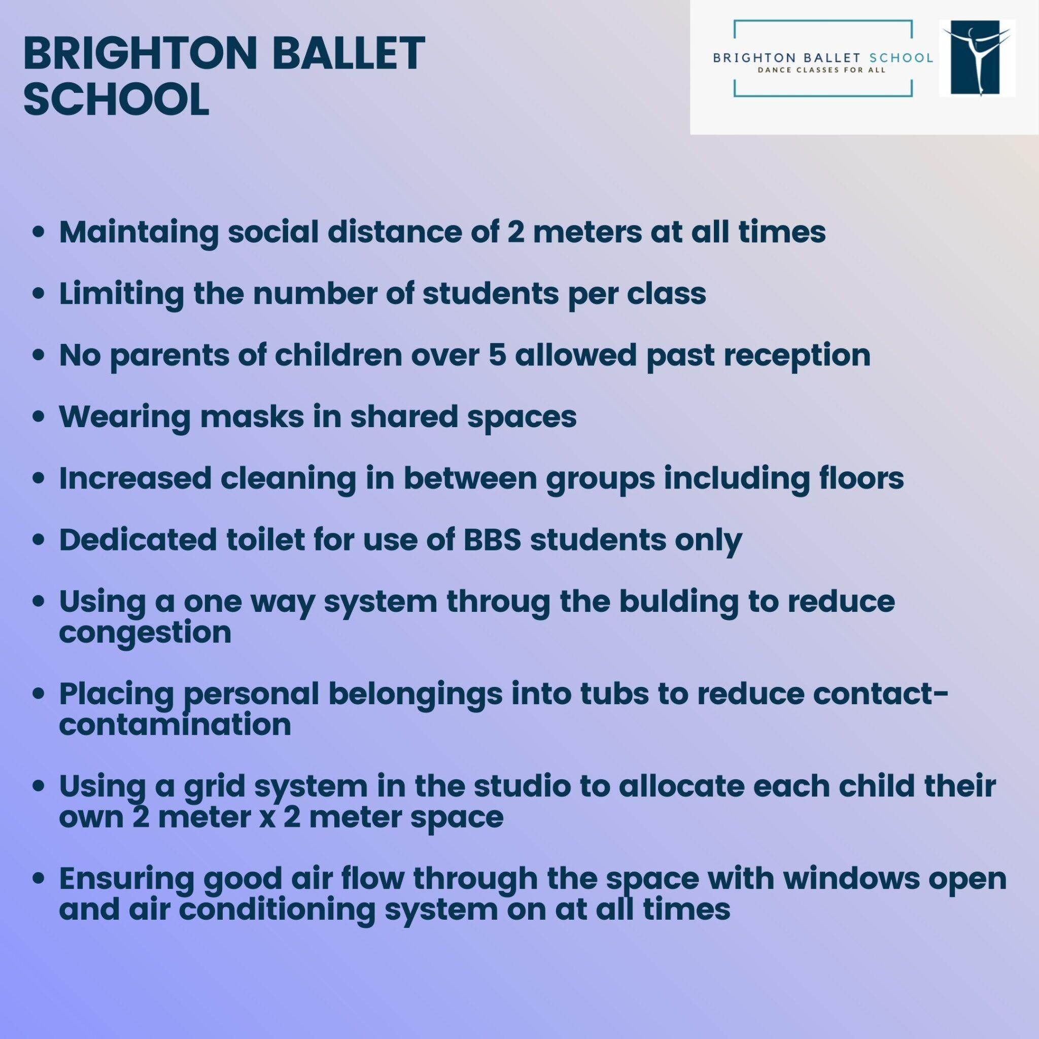 brighton ballet school covid secure measures