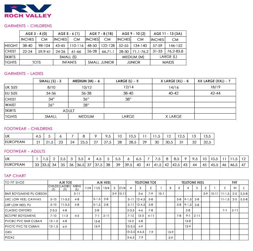 brighton ballet school roch valley size guide