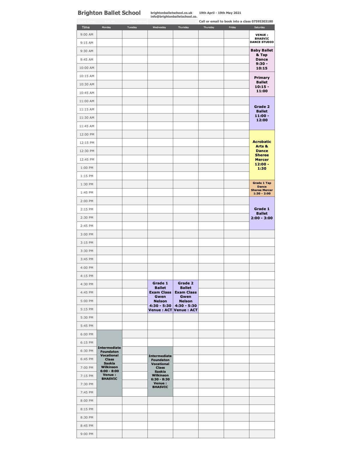 Brighton Ballet School Timetable