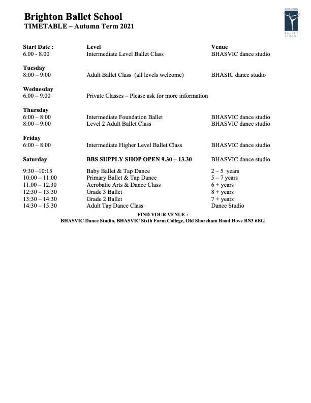 Brighton Ballet School - Timetable
